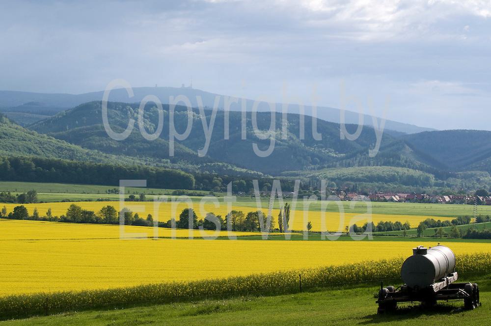 Blick vom Lustberg über Felder auf Berge und den Brocken, Wernigerode, Harz, Sachsen-Anhalt, Deutschland | view from Lustberg over fields on hills and Brocken, Wernigerode, Harz, Saxony-Anhalt, Germany