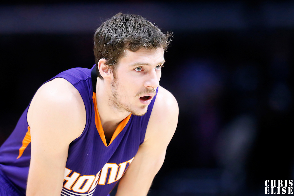 08 December 2014: Phoenix Suns guard Goran Dragic (1) rests during the Los Angeles Clippers 121-120 overtime victory over the Phoenix Suns, at the Staples Center, Los Angeles, California, USA.