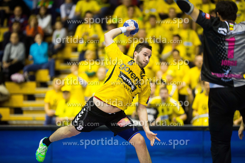 Senjamin Buric of Gorenje vs Jorge Martinez Martinez of Naturhouse La Riojaduring handball match between RK Gorenje Velenje and Naturhouse La Rioja in Round 6 of Group D of EHF Men's Champions League 2013/14, on November 23, 2013 in Rdeca dvorana, Velenje, Slovenia. Photo by Vid Ponikvar / Sportida