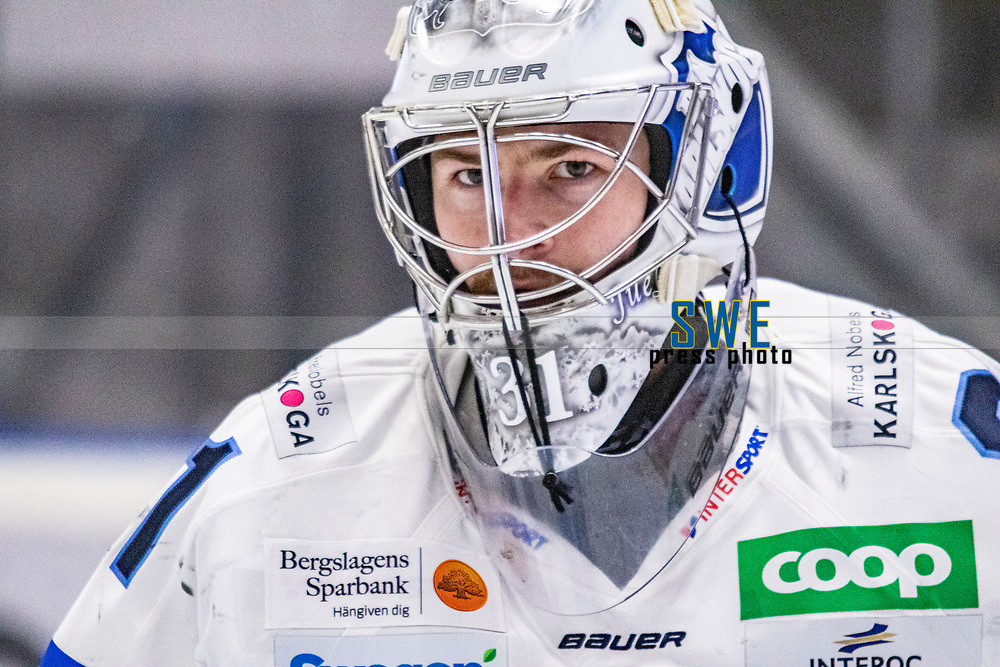 2019-10-09 | Umeå, Sweden: BIK målvakt 31 Tim Juel before matchstart in HockeyAllsvenskan between Björklöven and Karlskoga at A3 Arena ( Photo by: Michael Lundström | Swe Press Photo )<br /> <br /> Keywords: Umeå, Hockey, HockeyAllsvenskan, A3 Arena, Björklöven, Karlskoga, bk191009