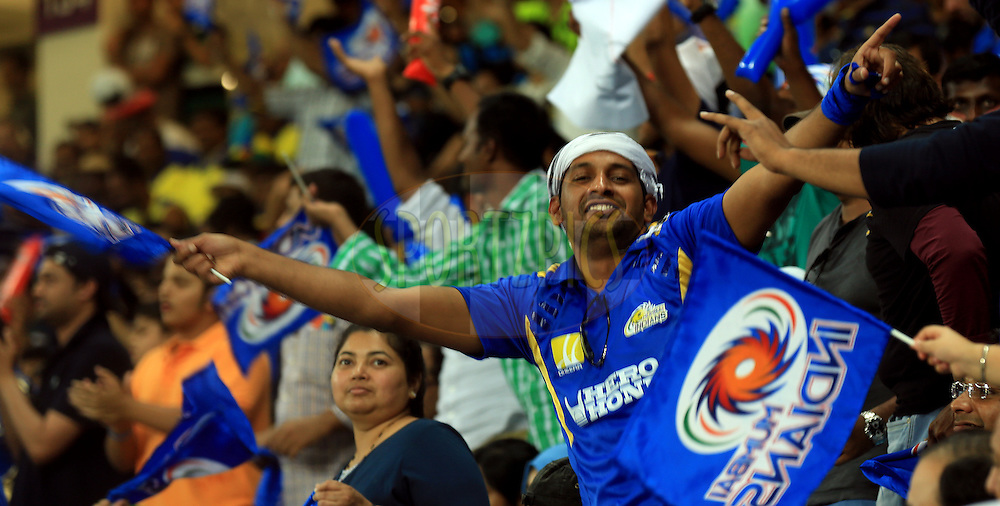 Fan's Enjoys during match 13 of the Pepsi Indian Premier League Season 7 between the Chennai Superkings and the Mumbai indians held at the Dubai International Stadium, Dubai, United Arab Emirates on the 25th April 2014<br /> <br /> Photo by Sandeep Shetty / IPL / SPORTZPICS