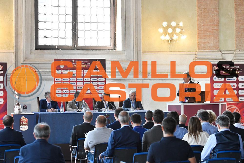tavolo roccaforte bianchi dle bono brambilla taveri<br /> presentazioe supercoppa 2018<br /> Legabasket Serie A 2018/19<br /> Brescia, 24/09/2018<br /> Ciamillo-Castoria