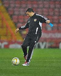 Bristol City Manager, Derek McInnes investigates the pitch, however referee Michael Naylor calls the game off - Photo mandatory by-line: Joe Meredith/JMP  - Tel: Mobile:07966 386802 26/12/2012 - Bristol City v Watford - SPORT - FOOTBALL - Championship -  Bristol  - Ashton Gate Stadium -