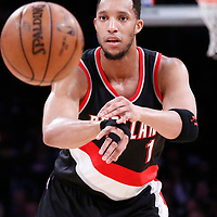 26 March 2016: Portland Trail Blazers guard Evan Turner (1) passes the ball during the Portland Trail Blazers 97-81 victory over the Los Angeles Lakers, at the Staples Center, Los Angeles, California, USA.