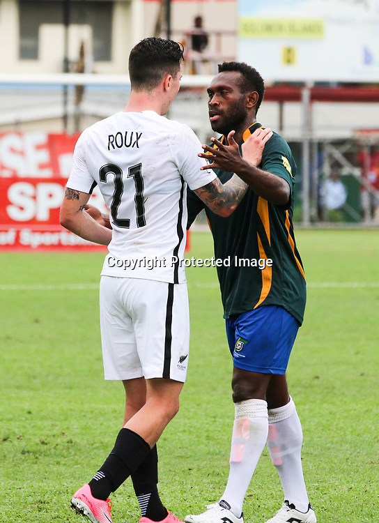 Storm Roux confronts Clifton Aumae.<br /> Fifa World Cup Qualifier, Solomon Islands v New Zealand All Whites, Lawson Tama Stadium, Honiara, Solomon Islands, 5 September 2017. Photo: OFC Media / www.photosport.nz