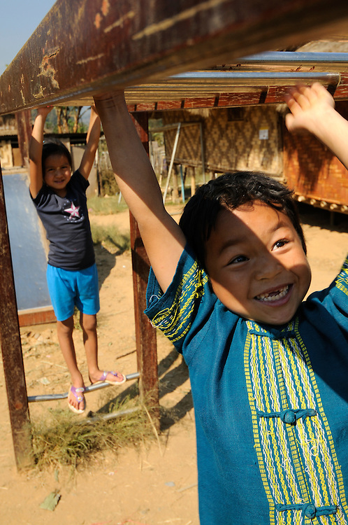 Refugees from Burma at Umpium Refugee Camp, Thailand.  Pictured are refugees using facilities sponsored by the Right To Play project.