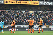 Wolverhampton Wanderers striker Benik Afobe (19) celebrates scoring a goal, making the score 2-0, with team-mates during the EFL Sky Bet Championship match between Wolverhampton Wanderers and Burton Albion at Molineux, Wolverhampton, England on 17 March 2018. Picture by Richard Holmes.