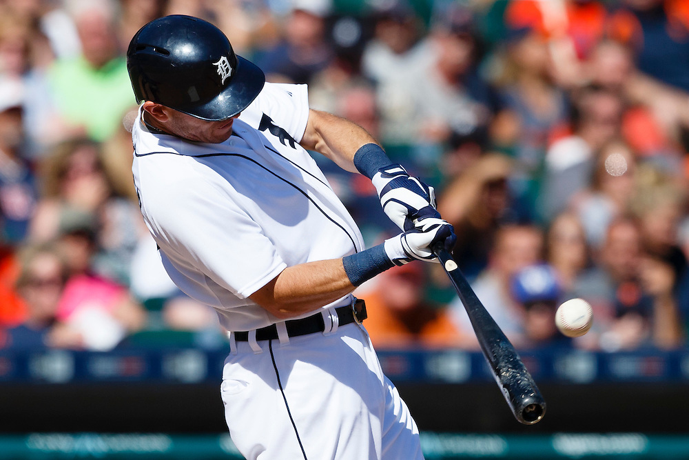 Aug 6, 2015; Detroit, MI, USA; Detroit Tigers second baseman Ian Kinsler (3) hits a walk off two run home run in the ninth inning against the Kansas City Royals at Comerica Park. Detroit won 8-6. Mandatory Credit: Rick Osentoski-USA TODAY Sports