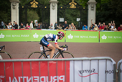 With one lap to go, Nicole Hanselmann (SUI) of Cervélo-Bigla Cycling Team leads the peloton during the Prudential RideLondon Classique, a 66 km road race in London on July 30, 2016 in the United Kingdom.