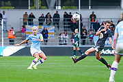 Manchester City Women defender Steph Houghton (captain) (6) passes the ball during the FA Women's Super League match between Manchester City Women and BIrmingham City Women at the Sport City Academy Stadium, Manchester, United Kingdom on 12 October 2019.