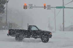 Heavy winter snow blankets the Lehigh Valley of Pennsylvania Thursday, February 13, 2013 near  Bethlehem, PA.