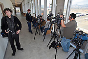 "04 FEBRUARY 2010 - CAMP VERDE, AZ:  Media from the Phoenix area and national networks wait in the hallway of the Yavapai County Court for James Arthur Ray's initial appearance to start. Ray had his initial appearance in Yavapai County Court in Camp Verde Thursday morning. His bail was set at $5 Million Dollars (US). Ray did not post bail and remains in jail. Ray was arrested in Prescott, AZ, on Feb 3 and charged with three counts of manslaughter after three people died during a sweat lodge ceremony he was holding in Sedona, AZ, in October 2009. The ceremony was a part of a ""Spiritual Warrior"" workshop Ray was leading. He charged participants $8,000 each. PHOTO BY JACK KURTZ   NO SALES"