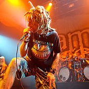 WASHINGTON, DC - January 23rd, 2012 - Bassist John Campbell and vocalist Randy Blythe of the Richmond, VA-based heavy metal band Lamb of God perform at the 9:30 Club in Washington, D.C. The band released their seventh studio album, Resolution, earlier in the week. (Photo by Kyle Gustafson/For The Washington Post)