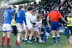Catherine O'Donnell of England Women scores a try - Mandatory by-line: Robbie Stephenson/JMP - 10/02/2019 - RUGBY - Castle Park - Doncaster, England - England Women v France Women - Women's Six Nations