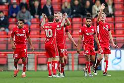 Aaron Wilbraham of Bristol City celebrates with Lee Tomlin after scoring a goal to make it 1-0 - Rogan Thomson/JMP - 22/10/2016 - FOOTBALL - Ashton Gate Stadium - Bristol, England - Bristol City v Blackburn Rovers - Sky Bet EFL Championship.