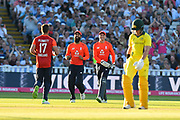 Wicket - Liam Plunkett of England celebrates taking the wicket of D'Arcy Short of Australia who was caught by Moeen Ali of England during the International T20 match between England and Australia at Edgbaston, Birmingham, United Kingdom on 27 June 2018. Picture by Graham Hunt.