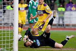 Goalkeeper of Olimpija Jan Oblak at football match of 31st Round of 1st Slovenian League  between NK Olimpija and NK Maribor, on April 16, 2010, in ZAK Stadium, Ljubljana, Slovenia. (Photo by Vid Ponikvar / Sportida)