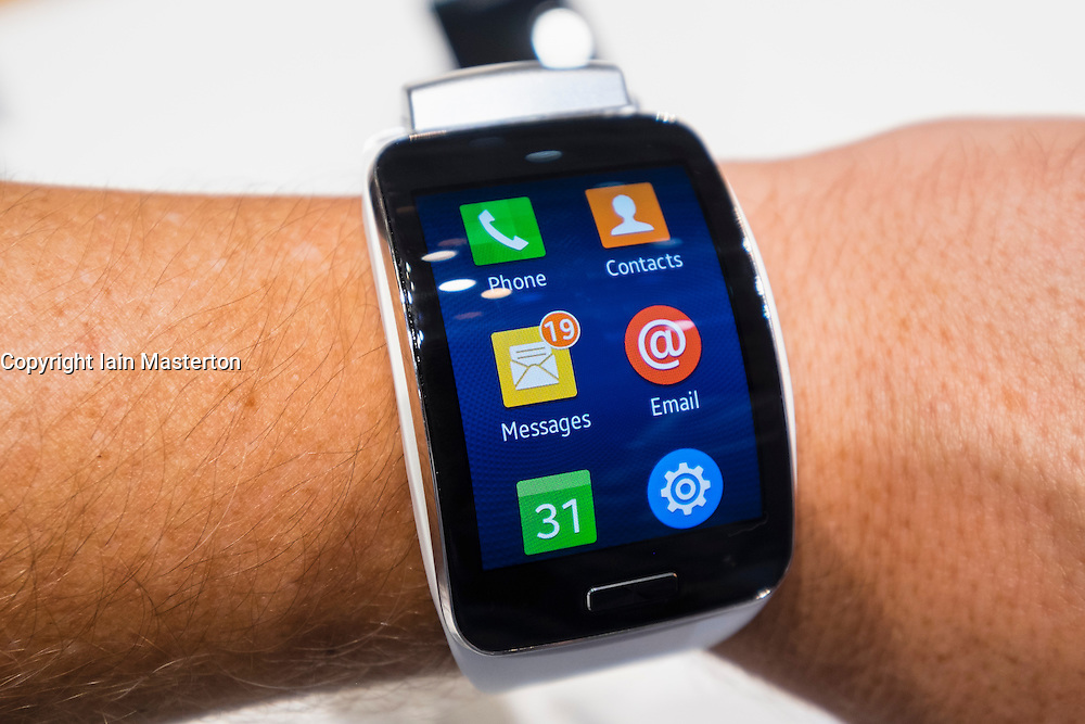 Samsung Gear S smart watch on display at IFA 2014  consumer electronics show in Berlin Germany