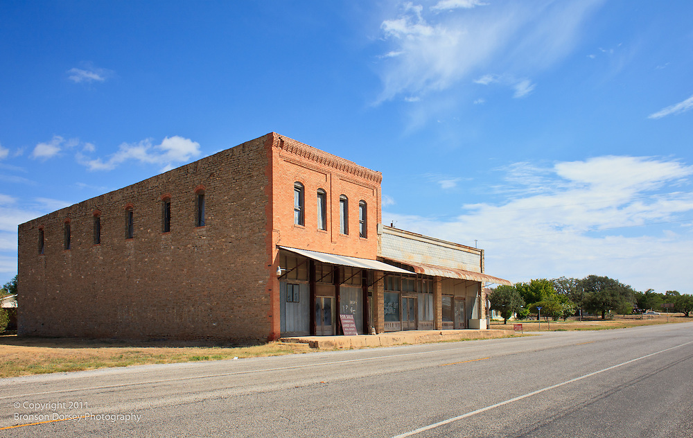 Abandoned buildings on US 190 in Rochelle, TX.