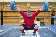Krzysztof Klicki from Poland (Mazovia Ciechanow; category +105 kg) during training session two weeks before weightlifting IWF World Championships Wroclaw 2013 at the Olympic Sports Centre in Spala on October 08, 2013.<br /> <br /> Poland, Warsaw, September 16, 2013<br /> <br /> Picture also available in RAW (NEF) or TIFF format on special request.<br /> <br /> For editorial use only. Any commercial or promotional use requires permission.<br /> <br /> Mandatory credit:<br /> Photo by &copy; Adam Nurkiewicz / Mediasport