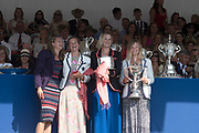 "Henley on Thames, United Kingdom, 8th July 2018, Sunday, View,  ""Fifth day"", of the annual,  ""Henley Royal Regatta"", Henley Reach, River Thames, Thames Valley, England, © Peter SPURRIER, Prize Giving,"