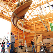June 15, 2011. Hoisting the stern hourse show into place.