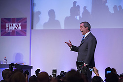 © Licensed to London News Pictures. 27/02/2015. Margate, UK. Nigel Farage delivers his Leader's Speech.  The UKIP spring conference at Margate Winter Gardens 27th February 2015. Photo credit : Stephen Simpson/LNP