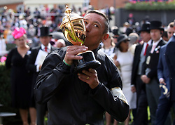 Frankie Dettori celebrates winning the Gold Cup (Group 1) (British Champions Series) (Class 1) aboard Stradivarius during day three of Royal Ascot at Ascot Racecourse.