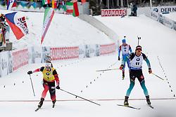 Johannes Thingnes Boe (NOR) and Quentin Fillon Maille (FRA) in action during the Pursuit Men 12,5 km at day 8 of IBU Biathlon World Cup 2018/19 Pokljuka, on December 9, 2018 in Rudno polje, Pokljuka, Pokljuka, Slovenia. Photo by Urban Urbanc / Sportida