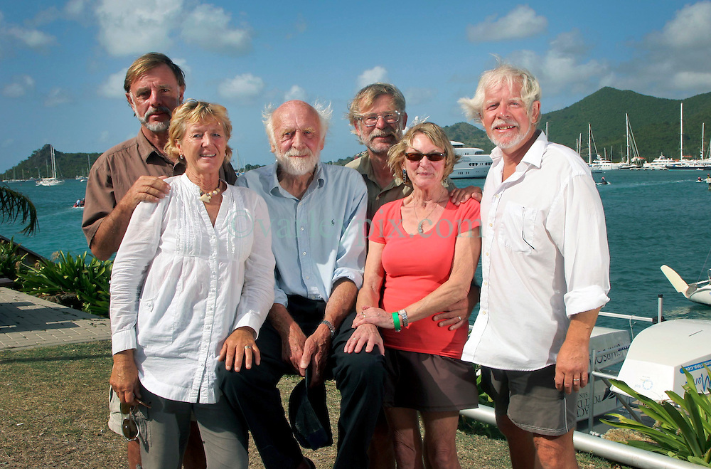 06 April 2011. St Maarten, Antilles, Caribbean.<br /> Antiki crew arrives after epic trans-Atlantic voyage. Wives join their husbands.<br /> L/R David Hildred, sailing master and British Virgin Islands resident and his wife Trisha Baily, Anthony Smith (84 yrs old) British adventurer  Dr Andrew Bainbridge of Alberta, Canada and his wife Beryland John Russell, solicitor and UK resident.<br /> Photo; Charlie Varley/varleypix.com