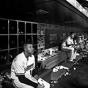 Manny Machado, (left) and Chris Davis, Baltimore Orioles, in the dugout preparing to bat during the New York Mets Vs Baltimore Orioles MLB regular season baseball game at Citi Field, Queens, New York. USA. 5th May 2015. Photo Tim Clayton