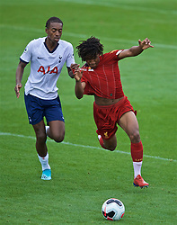 KIRKBY, ENGLAND - Saturday, August 10, 2019: Liverpool's Yasser Larouci (R) has his shirt pulled by Tottenham Hotspur's Paris Maghoma during the Under-23 FA Premier League 2 Division 1 match between Liverpool FC and Tottenham Hotspur FC at the Academy. (Pic by David Rawcliffe/Propaganda)