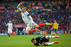 LONDON, ENGLAND - Sunday, March 26, 2017: England's Jamie Vardy in action against Lithuania's goalkeeper Emilijus Zubas during the 2018 FIFA World Cup Qualifying Group F match at Wembley Stadium. (Pic by Lexie Lin/Propaganda)