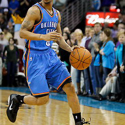 January 24,  2011; New Orleans, LA, USA; Oklahoma City Thunder point guard Eric Maynor (6) against the New Orleans Hornets during the fourth quarter at the New Orleans Arena. The Hornets defeated the Thunder 91-89. Mandatory Credit: Derick E. Hingle