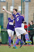 City of Liverpool's (purple) Matthew Williams celebrates his goal making it 3-0 during the North West Counties League Play Off Final match between Litherland REMYCA and City of Liverpool FC at Litherland Sports Park, Litherland, United Kingdom on 13 May 2017. Photo by Craig Galloway.