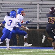 Milford wide receiver TYRON MIFFLIN (15) attempts to catch the ball during the 2017 DIAA Division II state championship game between the Delmar and Milford Saturday, Dec. 02, 2017 at Delaware Stadium in Newark, DE.