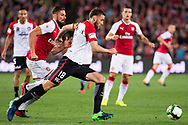July 15 2017: Western Sydney Wanderers defender Robbie CORNTHWAITE (18) gets the ball around Arsenal player Olivier Giroud (12) at the International soccer match between English Premier League giants Arsenal and A-League team Western Sydney Wanderers at ANZ Stadium in Sydney.