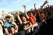Fans seen in the crowd at the Big Dance Concert Series during Final Four weekend in Indianapolis, Indiana.