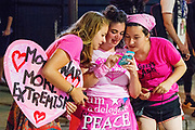 Girls from Code Pink give out free hugs outside the RNC Convention. The Republican National Convention in Cleveland, where Donald Trump is nominated as the republican presidential candidate.