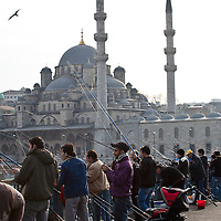 Fishing off the Galata Bridge, Istanbul, Turkey
