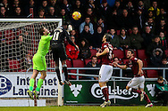 Adam Smith of Northampton Town (left)  punches clear from Craig Westcarr of Mansfield Town  (2nd left)during the Sky Bet League 2 match at Sixfields Stadium, Northampton<br /> Picture by Andy Kearns/Focus Images Ltd 0781 864 4264<br /> 14/11/2015