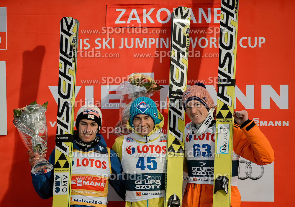 18.01.2015, Wielka Krokiew, Zakopane, POL, FIS Weltcup Ski Sprung, Zakopane, im Bild STEFAN KRAFT KAMIL STOCH SEVERIN FREUND // during men's Large Hill competition of FIS Ski Jumping world cup at the Wielka Krokiew in Zakopane Wielka Krokiew in Zakopane, Poland on 2015/01/18. EXPA Pictures &copy; 2015, PhotoCredit: EXPA/ Newspix/ RAFAL OLEKSIEWICZ<br /> <br /> *****ATTENTION - for AUT, SLO, CRO, SRB, BIH, MAZ, TUR, SUI, SWE only*****