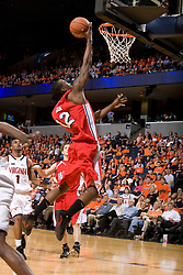 Bradley guard/forward Theron Wilson (12) converts a layup against UVA.  The Virginia Cavaliers fell to the Bradley Braves 96-85 in the semifinals of the 2008 College Basketball Invitational at the University of Virginia's John Paul Jones Arena in Charlottesville, VA on March 26, 2008.