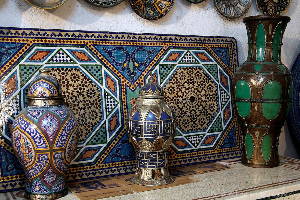 Africa, Morocco, Fes. Ceramics of Fes.