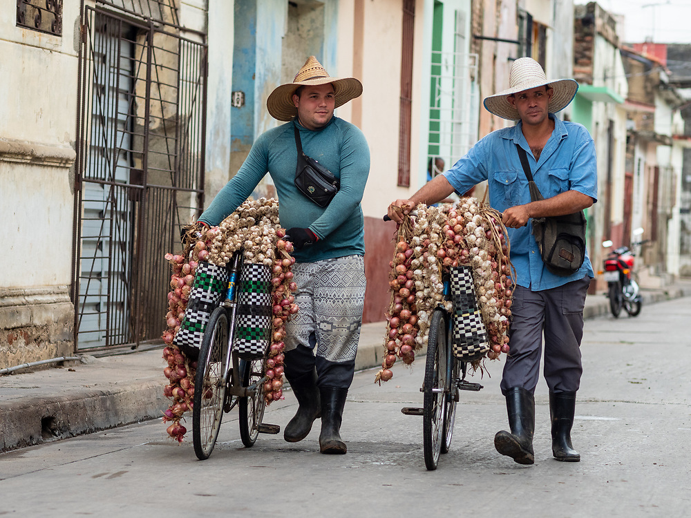 Onion and garlic vendors headed out for their day