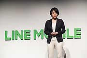 Line Mobile's President and CEO Ayano Kado speaks during a press conference on March 14, 2017, Tokyo, Japan. Line announced that it would launch an expansion of service for the application line music. 14/03/2017-Tokyo, JAPAN
