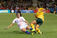 NEWCASTLE, NSW - NOVEMBER 13: Australian forward Samantha Kerr (20) and Chilean defender Su Helen Galaz (15) come together at the international women's soccer match between Australia and Chile at McDonald Jones Stadium in NSW, Australia. (Photo by Speed Media/Icon Sportswire)