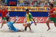 Football-FIFA Beach Soccer World Cup 2006 - Semi-final -BRA_POR -Benjamin-BRA- face to face with Bruno,GK-POR - Rio de Janeiro - Brazil 11/11/2006<br />Mandatory credit: FIFA/ Marco Antonio Rezende.