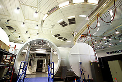 Stock photo of the entrance to a space training simulator at NASA in Houston Texas