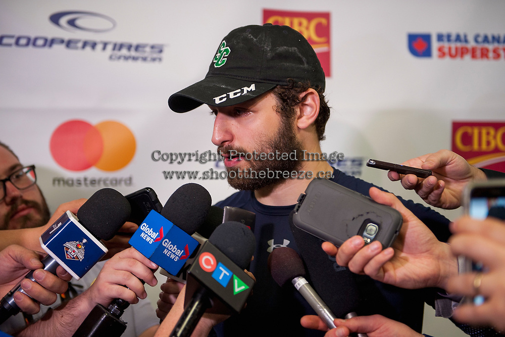 REGINA, SK - MAY 19: Giorgio Estephan #29 of Swift Current Broncos answers media questions after the game against the Acadie-Bathurst Titan at the Brandt Centre on May 19, 2018 in Regina, Canada. (Photo by Marissa Baecker/CHL Images)